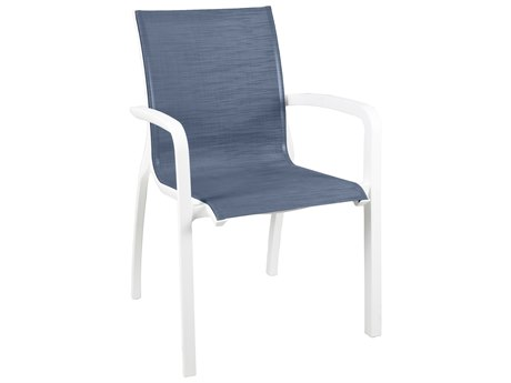 Grosfillex Sunset Sling Resin Glacier White Stacking Dining Arm Chair in Madras Blue (Sold in 4)