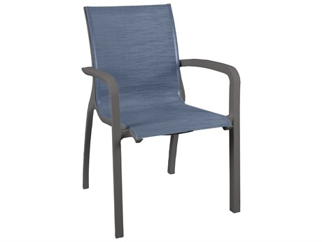 Grosfillex Sunset Sling Resin Volcanic Black Stacking Dining Arm Chair in Madras Blue (Sold in 4)