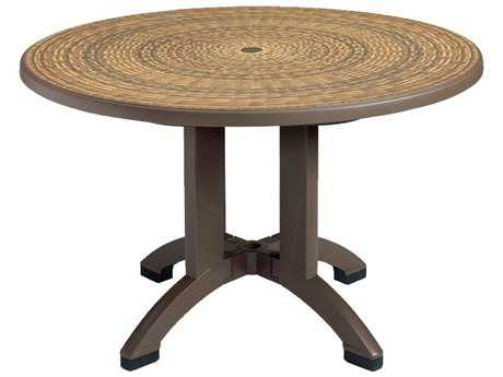Grosfillex Aquaba Classic Resin Espresso 48''Wide Round Wicker Top Dining Table with Umbrella Hole PatioLiving