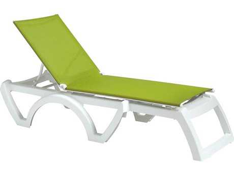 Grosfillex Calypso Sling Resin White Stacking Adjustable Chaise Lounge in Fern Green (Sold in 2) PatioLiving