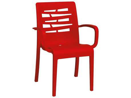 Grosfillex Essenza Resin Red Stacking Dining Arm Chair (Sold in 4) PatioLiving