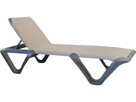 Grosfillex Nautical Pro Espresso / Charcoal Resin Sling Chaise Lounge (Sold in 2)