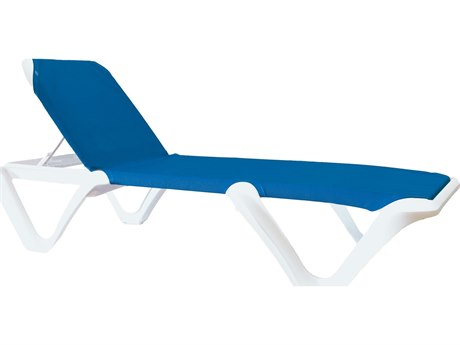 Grosfillex Nautical Sling Stacking Adjustable Chaise (Sold in 2)