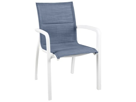 Grosfillex Sunset Sling Resin Glacier White Comfort Stacking Dining Arm Chair in Madras Blue (Sold in 4)