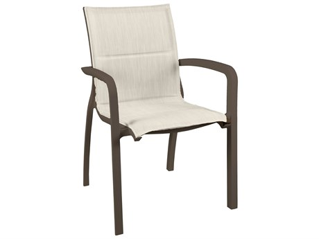 Grosfillex Sunset Sling Aluminum Fusion Bronze Comfort Stacking Dining Arm Chair in Beige (Sold in 4)