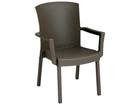 Grosfillex Havana Classic Aluminum Espresso Stacking Dining Arm Chair (Sold in 4) PatioLiving