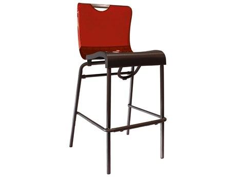 Grosfillex Krystal Aluminum Stacking Barstool in Red Backrest (Sold in 2)