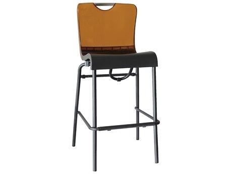 Grosfillex Krystal Aluminum Stacking Barstool in Amber Backrest (Sold in 2)