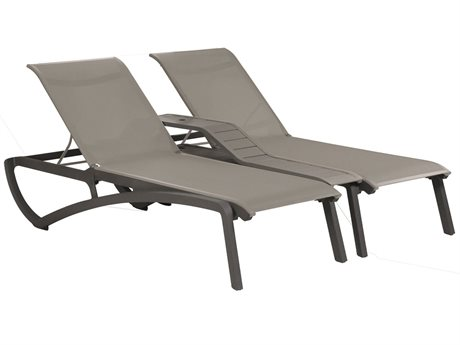 Grosfillex Sunset Solid Gray / Volcanic Black Aluminum Resin Fiberglass Sling Chaise Lounge