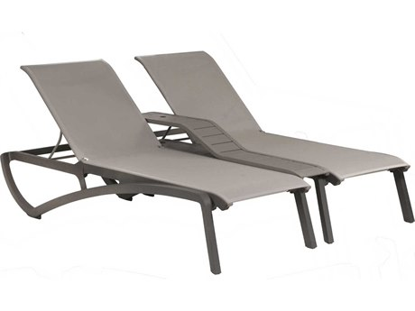 Grosfillex Sunset Solid Gray / Platinum Aluminum Resin Fiberglass Sling Chaise Lounge