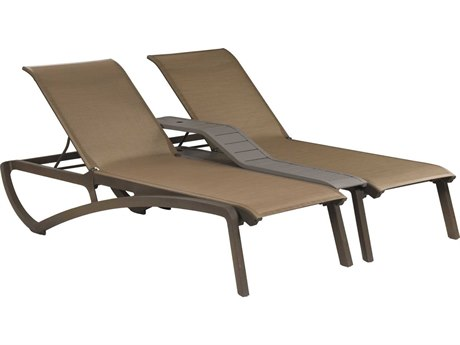 Grosfillex Sunset Cognac / Bronze Aluminum Resin Fiberglass Sling Chaise Lounge