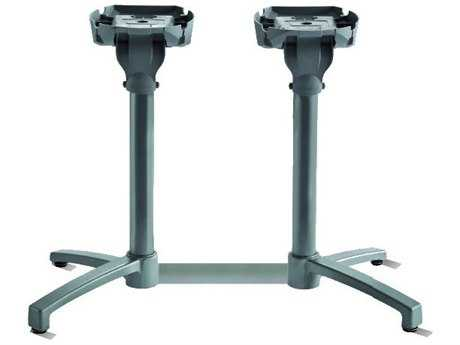 Grosfillex X1 Aluminum Silver Gray Lateral Tilting Table Base
