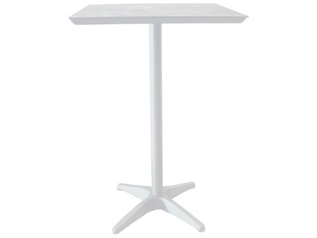 Grosfillex Sunset Resin Glacier White 28''Wide Square White Top Bar Height Table