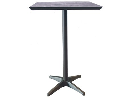 Grosfillex Sunset Resin Volcanic Black 28''Wide Square Granite Top Bar Height Table