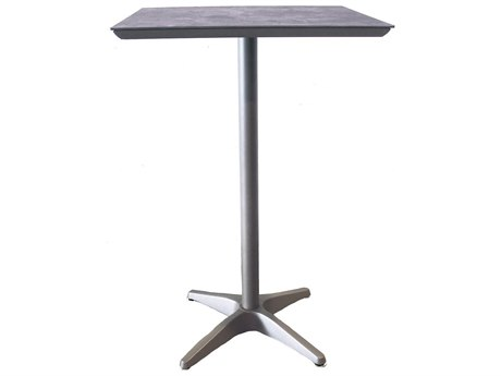 Grosfillex Sunset Resin Platinum Gray 28''Wide Square Granite Top Bar Height Table