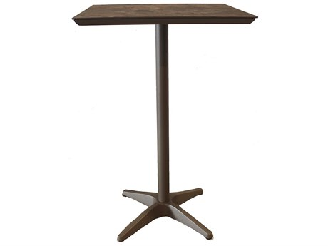 Grosfillex Sunset Resin Fusion Bronze 28''Wide Square Lava Top Bar Height Table