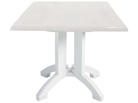 Grosfillex Atlanta Resin White 32''Wide Square Dining Table with Umbrella Hole