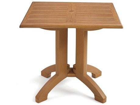 Grosfillex Atlanta Resin Teakwood Decor 32''Wide Square Dining Table with Umbrella Hole