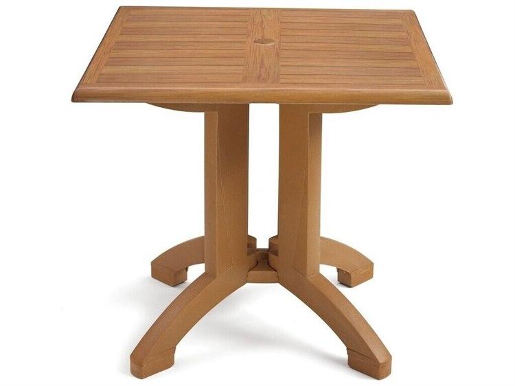 Grosfillex Atlanta Resin Teakwood Decor 32 Wide Square Dining Table With Umbrella Hole Ut370008