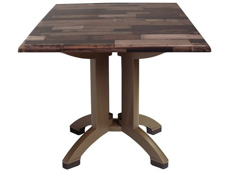 Grosfillex Atlanta Resin Shiplap 36''Wide Square Dining Table with Umbrella Hole