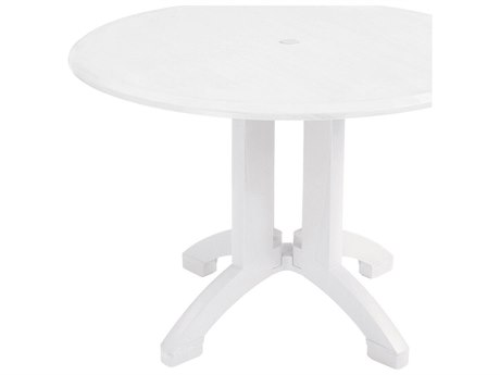 Grosfillex Atlanta Resin White 42''Wide Round Dining Table with Umbrella Hole