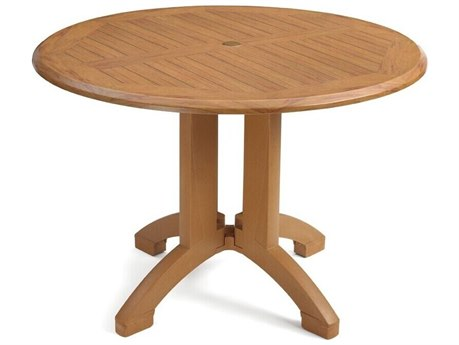 Grosfillex Atlanta Resin Teakwood Decor 42''Wide Round Dining Table with Umbrella Hole