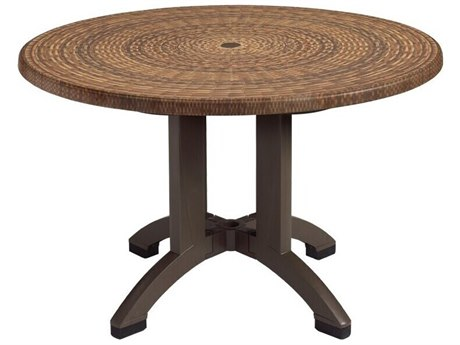 Grosfillex Atlanta Resin Wicker Decor 42''Wide Round Dining Table with Umbrella Hole