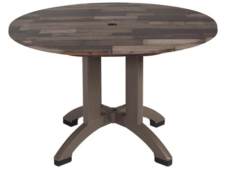 Grosfillex Atlanta Resin Shiplap 42''Wide Round Dining Table with Umbrella Hole