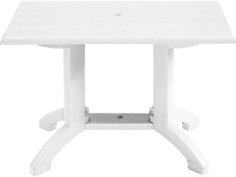 Grosfillex Atlanta Resin White 48''W x 32''D Rectangular Dining Table with Umbrella Hole