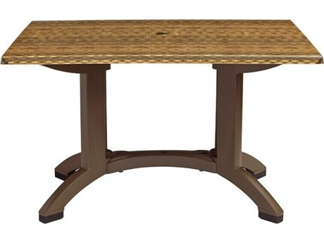 Grosfillex Atlanta Resin Wicker Decor 48''W x 32''D Rectangular Dining Table with Umbrella Hole