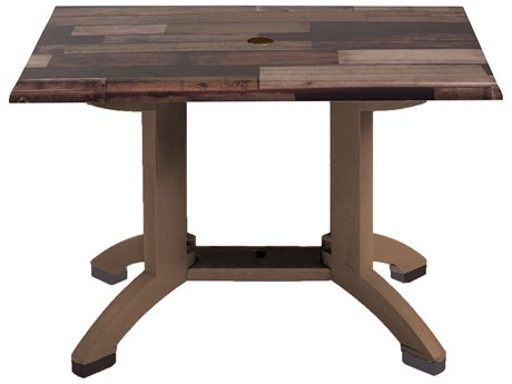 Grosfillex Atlanta Resin Shiplap 48''W x 32''D Rectangular Dining Table with Umbrella Hole