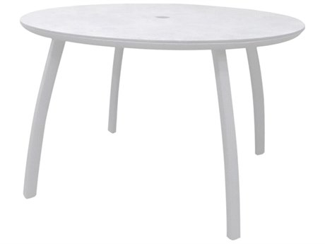 Grosfillex Sunset Resin Glacier White 48''Wide Round White Top Dining Table with Umbrella Hole