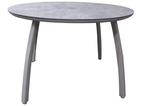 Grosfillex Sunset Resin Platinum Gray 48''Wide Round Granite Top Dining Table with Umbrella Hole