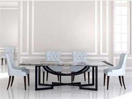 Habersham Metropolitan 96'' x 48'' Rectangular Dining Table with Glass Top and Metal Base