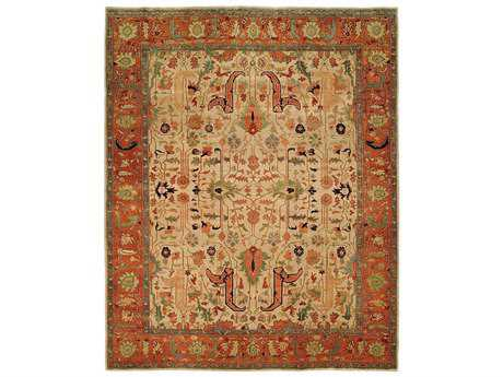 Harounian Rugs Antique Heriz Rectangular Ivory & Rust Area Rug