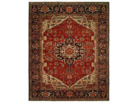 Harounian Rugs Antique Heriz Rectangular Red & Blue Area Rug