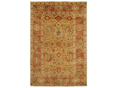 Harounian Rugs Mahal Rectangular Gold & Rust Area Rug