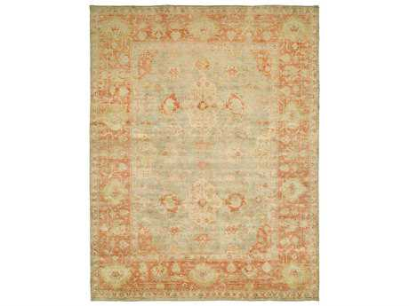Harounian Rugs Ottoman Rectangular Light Blue & Rust Area Rug