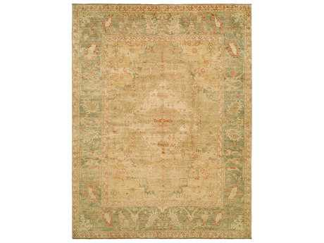 Harounian Rugs Ottoman Rectangular Light Gold & Green Area Rug