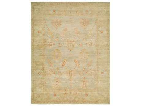 Harounian Rugs Ottoman Rectangular Light Blue & Camel Area Rug