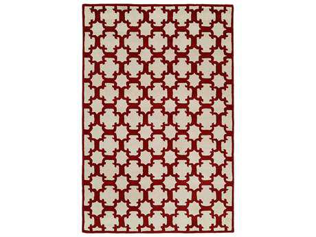 Harounian Rugs Dimension Rectangular Ivory & Burgundy Area Rug