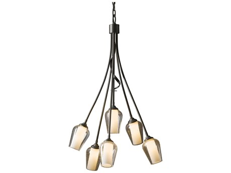 Hubbardton Forge Flora Opal & Seeded Glass 23'' Wide Six-Light Incandescent Chandelier