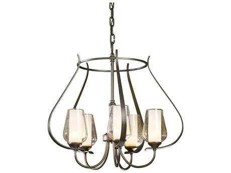 Hubbardton Forge Flora Opal & Seeded Glass 22'' Wide Five-Light Incandescent Mini-Chandelier