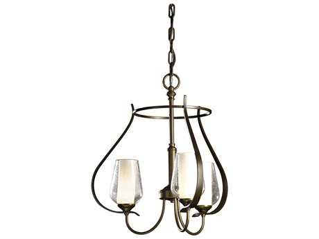 Hubbardton Forge Flora Opal & Seeded Glass 19'' Wide Three-Light Incandescent Mini-Chandelier