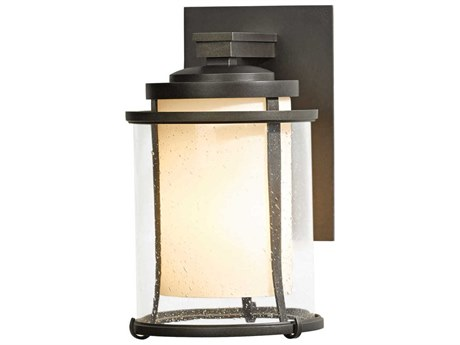 Hubbardton Forge Meridian Opal and Seeded Glass Incandescent Outdoor Wall Light