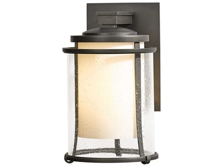 Hubbardton Forge Meridian Opal and Seeded Glass LED Outdoor Wall Light