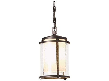 Hubbardton Forge Meridian Opal and Seeded Glass LED Small Outdoor Hanging Light