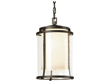 Hubbardton Forge Meridian Opal & Seeded Glass LED Large Outdoor Hanging Light