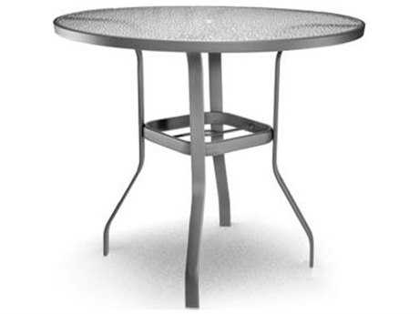 Homecrest Glass Aluminum 48 Round Bar Table with Umbrella Hole