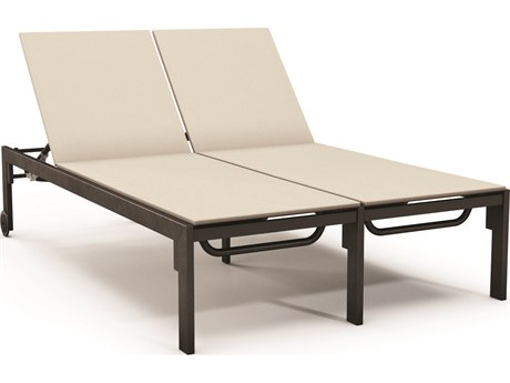 Homecrest Allure Aluminum Sling Double Chaise Lounge with Wheel